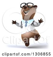 Clipart Of A 3d Happy Bespectacled Brown Bear Doctor Or Veterinarian Jumping Royalty Free Illustration