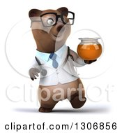 Clipart Of A 3d Happy Bespectacled Brown Bear Doctor Or Veterinarian Walking And Holding A Honey Jar Royalty Free Illustration