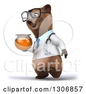 Clipart Of A 3d Happy Bespectacled Brown Bear Doctor Or Veterinarian Walking Slightly Left And Holding A Honey Jar Royalty Free Illustration