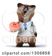 Clipart Of A 3d Happy Bespectacled Brown Bear Doctor Or Veterinarian Holding A Piggy Bank Royalty Free Illustration