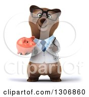 Clipart Of A 3d Happy Bespectacled Brown Bear Doctor Or Veterinarian Holding And Pointing To A Piggy Bank Royalty Free Illustration