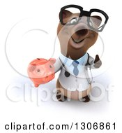 Clipart Of A 3d Happy Bespectacled Brown Bear Doctor Or Veterinarian Holding Up A Thumb And A Piggy Bank Royalty Free Illustration