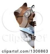 Clipart Of A 3d Happy Bespectacled Brown Bear Doctor Or Veterinarian Looking Around A Sign Royalty Free Illustration