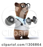 Clipart Of A 3d Happy Bespectacled Brown Bear Doctor Or Veterinarian Facing Slightly Right Working Out And Doing Lateral Raises With Dumbbells Royalty Free Illustration