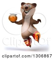 Clipart Of A 3d Happy Brown Bear Wearing Inline Roller Skates Jumping And Holding A Honey Jar Royalty Free Illustration