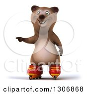 Clipart Of A 3d Happy Brown Bear Wearing Inline Roller Skates And Pointing Royalty Free Illustration