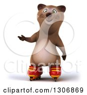 Clipart Of A 3d Happy Brown Bear Wearing Inline Roller Skates And Presenting Royalty Free Illustration
