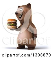 Clipart Of A 3d Happy Brown Bear Facing Left And Holding A Double Cheeseburger Royalty Free Illustration
