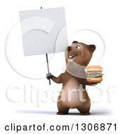 Clipart Of A 3d Happy Brown Bear Holding A Double Cheeseburger And A Blank Sign Royalty Free Illustration
