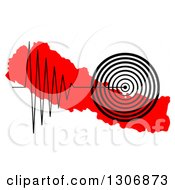 Clipart Of A Black Earthquake Tremor Graph Over A Red Map Of Nepal Royalty Free Illustration