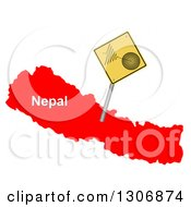 3d Yellow Earthquake Tremor Warning Sign On A Red Map Of Nepal