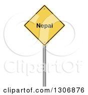 3d Yellow Nepal Warning Sign On White
