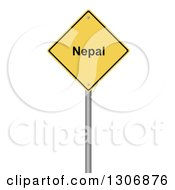 Clipart Of A 3d Yellow NEPAL Warning Sign On White Royalty Free Illustration