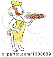 Clipart Of A Cartoon Red And White Male Boer Goat Buck Chef Wearing An Apron Standing Upright And Holding A Tray Of Meat Royalty Free Vector Illustration by LaffToon