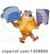 Cartoon Happy Gorilla Mover Carrying A Couch And Dresser