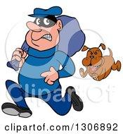 Cartoon Guard Dog Chasing A Robber