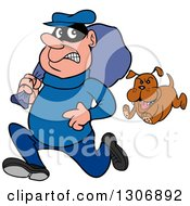 Clipart Of A Cartoon Guard Dog Chasing A Robber Royalty Free Vector Illustration by LaffToon