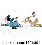 Cartoon Turkey Bird Chasing A Pilgrim With An Axe