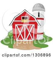 Red Barn With A Hay Loft And Farm Silo With Shrubs