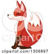 Clipart Of A Cute Happy Sitting Fox Smiling With Its Eyes Closed And Facing Left Royalty Free Vector Illustration