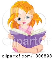 Clipart Of A Cute Blue Eyed Strawberry Blond White Girl Sitting On The Floor And Reading A Big Book Royalty Free Vector Illustration by Pushkin