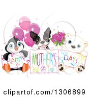 Poster, Art Print Of Cute Baby Penguin Boston Terrier And Polar Bear Cub Holdign Happy Mothers Day Drawings With Balloons Hearts And Roses