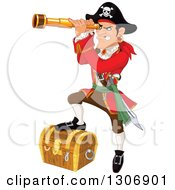 Clipart Of A Mad Male Pirate Captain Peering Through A Spyglass And Resting A Foot On A Treasure Chest Royalty Free Vector Illustration