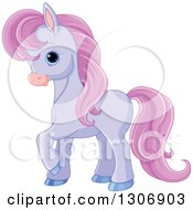 Clipart Of A Cute Little Purple Pony Horse Prancing To The Left Royalty Free Vector Illustration