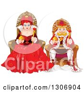 Clipart Of A Mean Queen Of Hearts And Short King Sitting On Their Thrones Royalty Free Vector Illustration by Pushkin