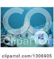Clipart Of Dolphins Pulling A Fantasy Sea Carriage In Front Of An Underwater Castle Royalty Free Vector Illustration by Pushkin