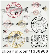 Clipart Of Vintage Fish Postmark Stamps And Alphabet Design Elements Royalty Free Vector Illustration