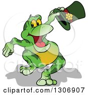 Clipart Of A Cartoon Happy Presenting Green Frog Holding A Top Hat Royalty Free Vector Illustration