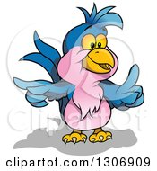 Clipart Of A Cartoon Blue And Pink Parrot Holding Up A Finger And Pointing Royalty Free Vector Illustration by dero