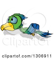Clipart Of A Cartoon Green And Blue Parrot Flying To The Left Royalty Free Vector Illustration by dero