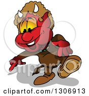 Clipart Of A Cartoon Red Devil Walking And Pointing Down Royalty Free Vector Illustration