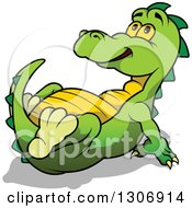 Clipart Of A Cartoon Awed Green Dinosaur Resting And Leaning Back While Looking Up Royalty Free Vector Illustration