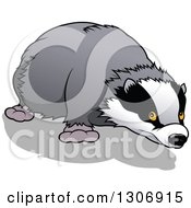 Clipart Of A Cartoon Sniffing Honey Badger Royalty Free Vector Illustration by dero