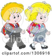 Clipart Of Cartoon White Young School Children Walking Together Royalty Free Vector Illustration
