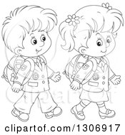 Lineart Clipart Of Cartoon Black And White Happy School Children Walking Royalty Free Outline Vector Illustration