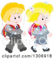 Clipart Of Cartoon Caucasian Young School Children Walking Together Royalty Free Vector Illustration