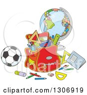 Clipart Of A Cartoon School Backpack Bag With Supplies A Desk Globe And Soccer Ball Royalty Free Vector Illustration