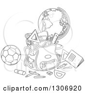 Lineart Clipart Of A Cartoon Black And White School Backpack Bag With Supplies A Desk Globe And Soccer Ball Royalty Free Outline Vector Illustration
