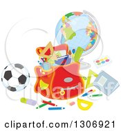 Clipart Of A Cartoon Backpack With School Supplies A Desk Globe And Soccer Ball Royalty Free Vector Illustration