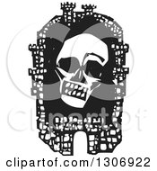 Clipart Of A Black And White Woodcut Fortified City With A Death Plague Skull Inside The Walls Royalty Free Vector Illustration