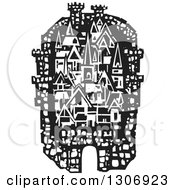Clipart Of A Black And White Woodcut Fortified City Royalty Free Vector Illustration