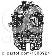 Clipart Of A Black And White Woodcut Fortified City With A Fire Breathing Dragon Royalty Free Vector Illustration