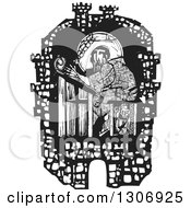 Clipart Of A Black And White Woodcut Fortified City Walls Around A Monk Transcribing Scripture In A Monastery Royalty Free Vector Illustration