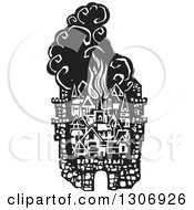 Clipart Of A Black And White Woodcut Fortified City With Burning Buildings Royalty Free Vector Illustration by xunantunich