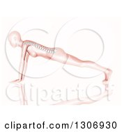 Clipart Of A 3d Anatomical Woman With Visible Spine Doing Push Ups Or In A Yoga Pose On White Royalty Free Illustration