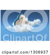Clipart Of A 3d Cloud Vault Safe In The Sky Royalty Free Illustration by KJ Pargeter